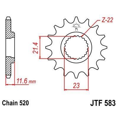 Pignon JT Sprockets Acier pas 520 13 dents - Pour Yamaha TT-R 250 93-04