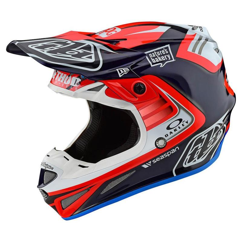 Casque cross Troy Lee Designs SE4 Carbon Flash Team Mips bleu/rouge