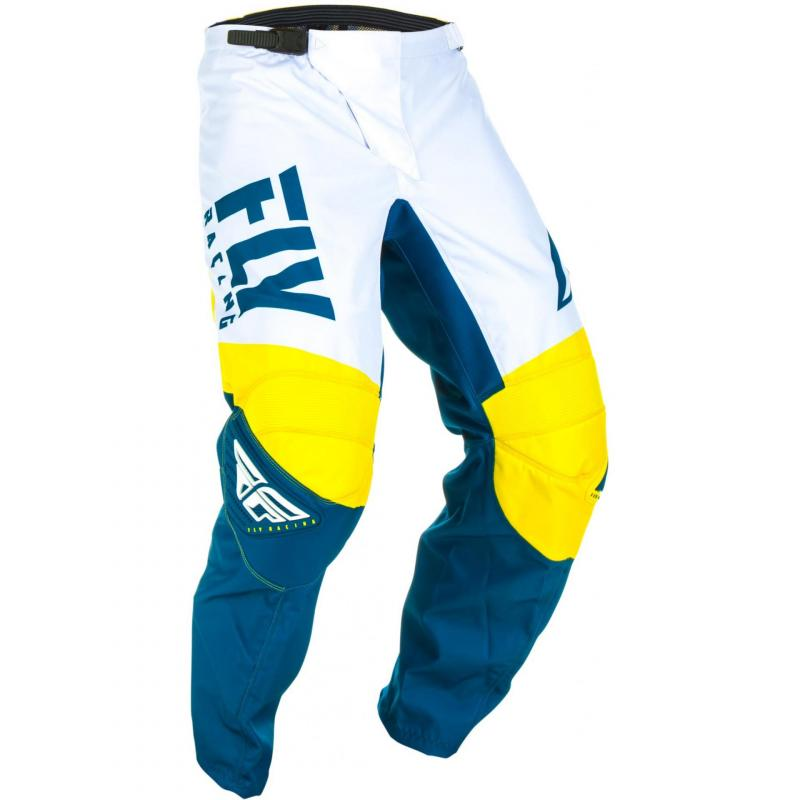 Pantalon cross enfant Fly Racing F-16 jaune/blanc/bleu