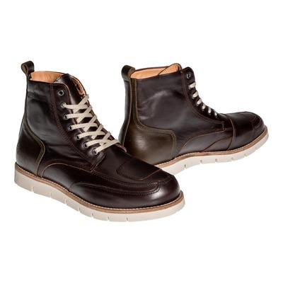 Chaussures moto Helstons Liberty Cuir Aniline Ciré marron/kaki