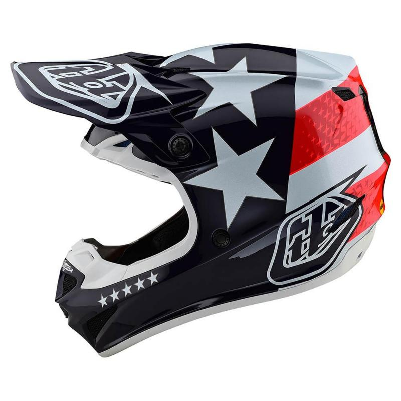 Casque cross Troy Lee Designs SE4 Polyacrylite Freedom Mips rouge/blanc - 1