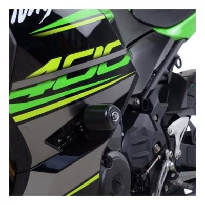 Tampons de protection R&G Racing Aero noir Kawasaki Ninja 400 2018 sans perçage