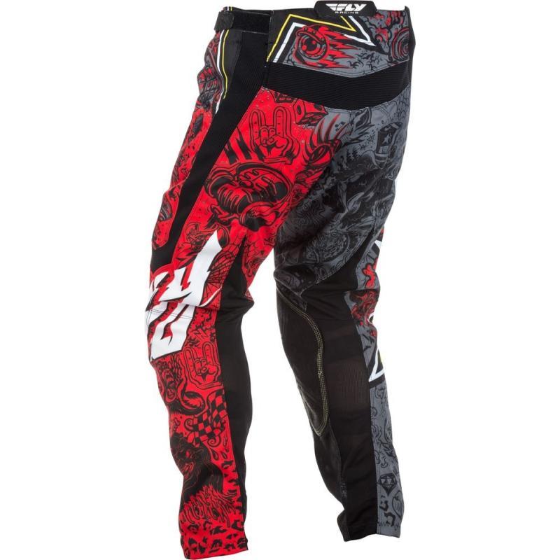 Pantalon cross Fly Racing Kinetic Rockstar rouge/gris - 2