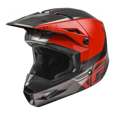 Casque cross Fly Racing Kinetic Straight Edge rouge/noir/gris