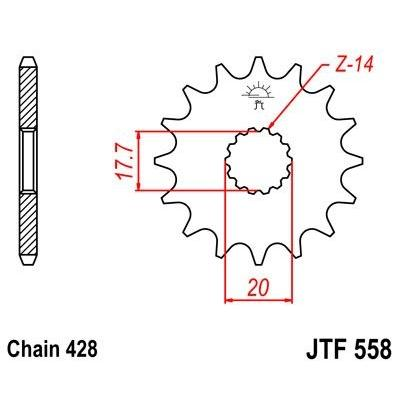 Pignon JT Sprockets Acier pas 428 14 dents - Pour Yamaha YZ 85 02-17