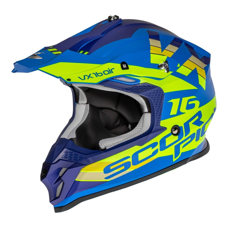 Casque cross Scorpion VX-16 Air X-Turn Mat bleu/jaune fluo