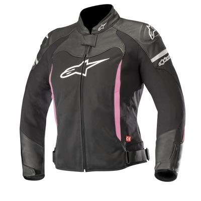 Blouson cuir/textile femme Alpinestars Stella SP X Air noir/fushia
