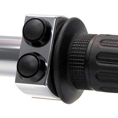 Commodo bouton poussoir double Motogadget switch Ø1'' (2,5 cm) bouton noir/boîtier chrome