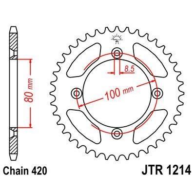 Couronne JT Sprockets Acier pas 420 46 dents - Pour Honda XR 80 R 85-03