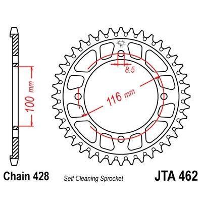 Couronne JT Sprockets Aluminium pas 428 49 dents - Pour Kawasaki KX 80 86-00