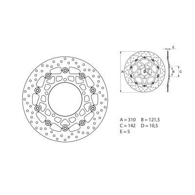 Disque de frein Brembo D.310 série Oro rond flottant avant Suzuki gsf650 bandit