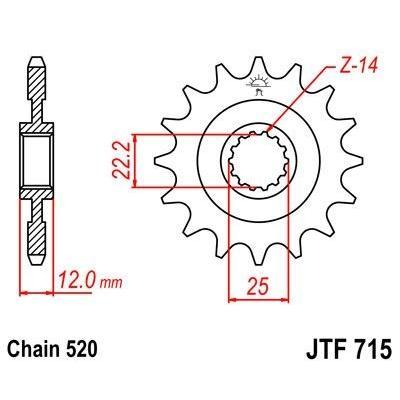Pignon JT Sprockets Acier pas 520 12 dents - Pour Gas Gas EC 250 00-14