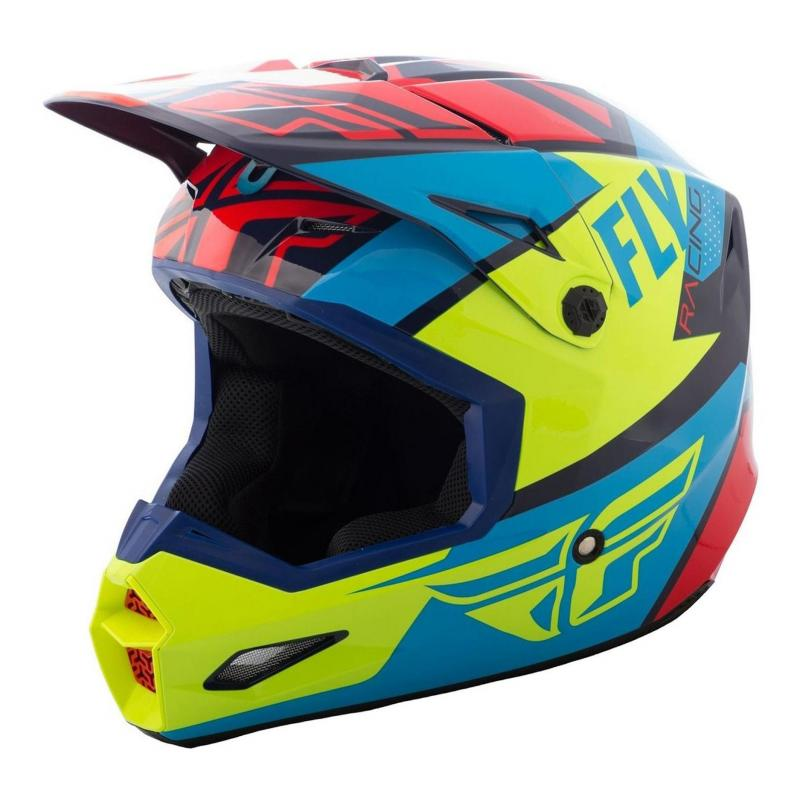 Casque cross Fly Racing Elite Guild rouge/bleu/jaune fluo