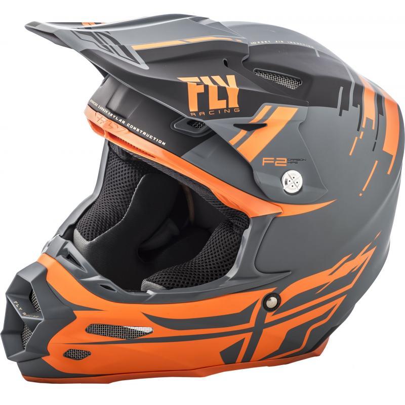 Casque cross Fly Racing F2 Carbon Forge noir/orange/gris