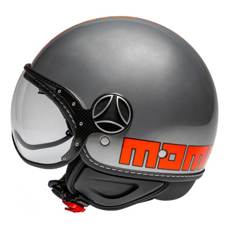 Casque jet Momo Design FGTR EVO gris métal/orange - 1