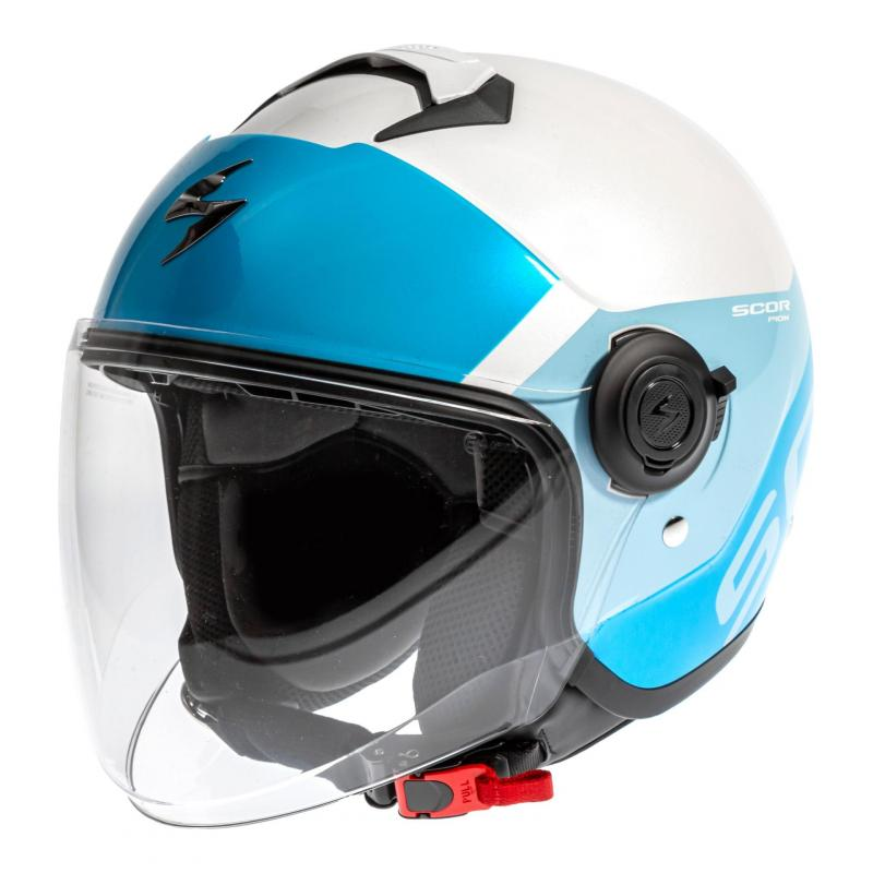 Casque jet Scorpion Exo-City Sympa blanc/light bleu