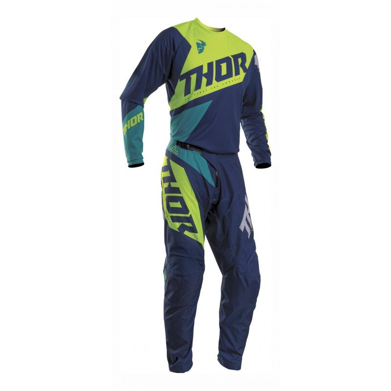 Maillot cross Thor Sector Blade navy/acid - 2