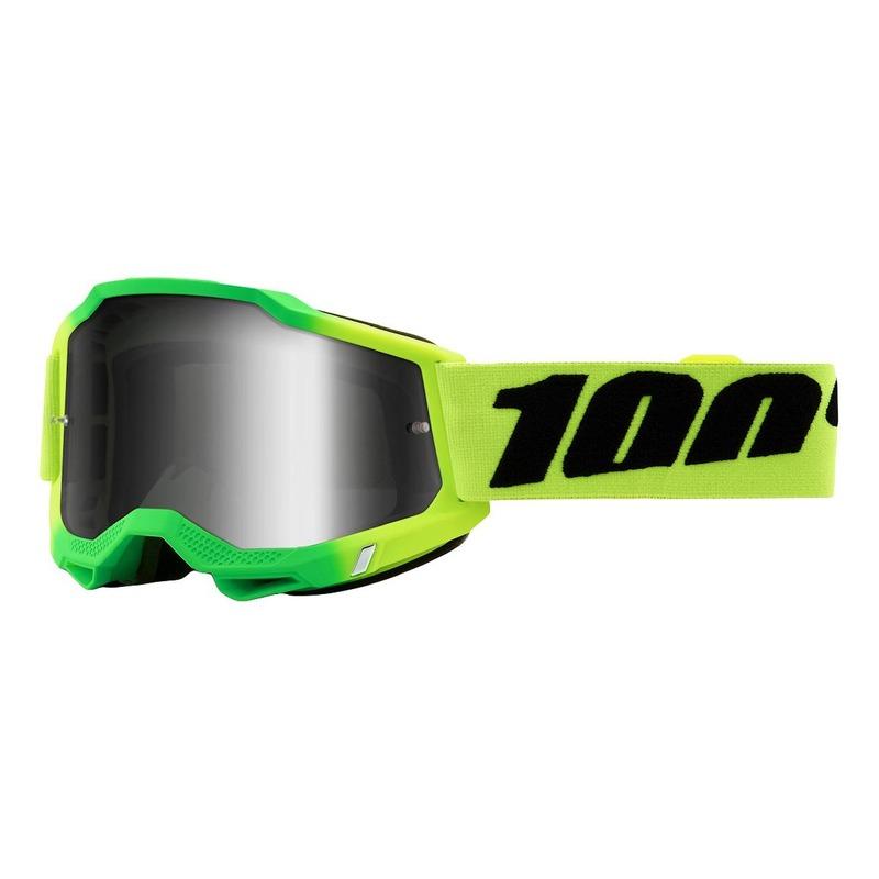 Masque cross 100% Accuri 2 Travis vert/vert fluo écran iridium argent