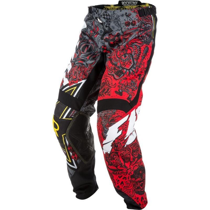 Pantalon cross Fly Racing Kinetic Rockstar rouge/gris - 1