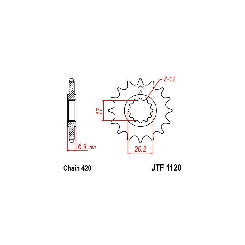 Pignon JT Sprockets Acier pas 420 14 dents - Pour Yamaha DT 50 R 97-06