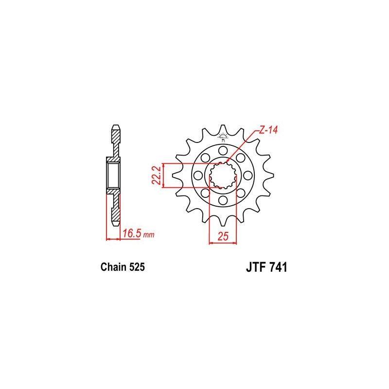 Pignon JT Sprockets Acier pas 525 14 dents - Pour Ducati 749 04-06