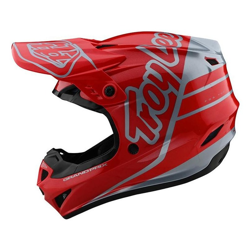 Casque cross Troy Lee Designs GP Polyacrylite Silhouette rouge/argent