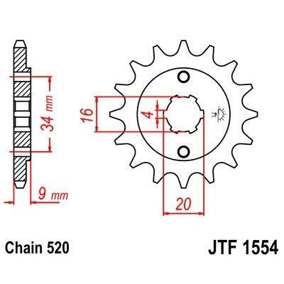 Pignon JT Sprockets Acier pas 520 13 dents - Pour Yamaha TT-R 230 05-14
