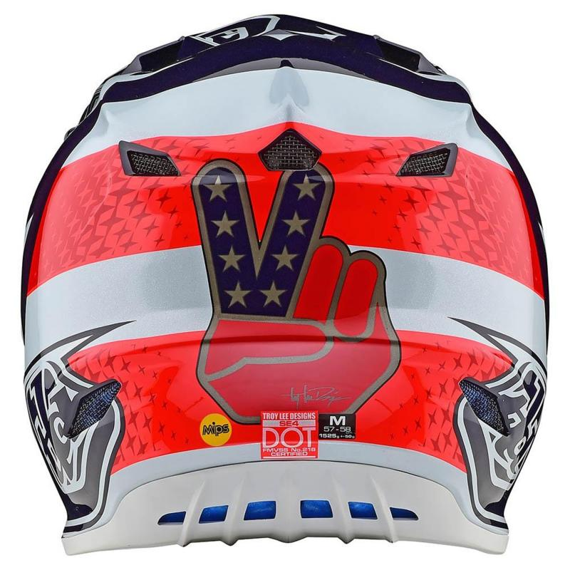 Casque cross Troy Lee Designs SE4 Polyacrylite Freedom Mips rouge/blanc - 2