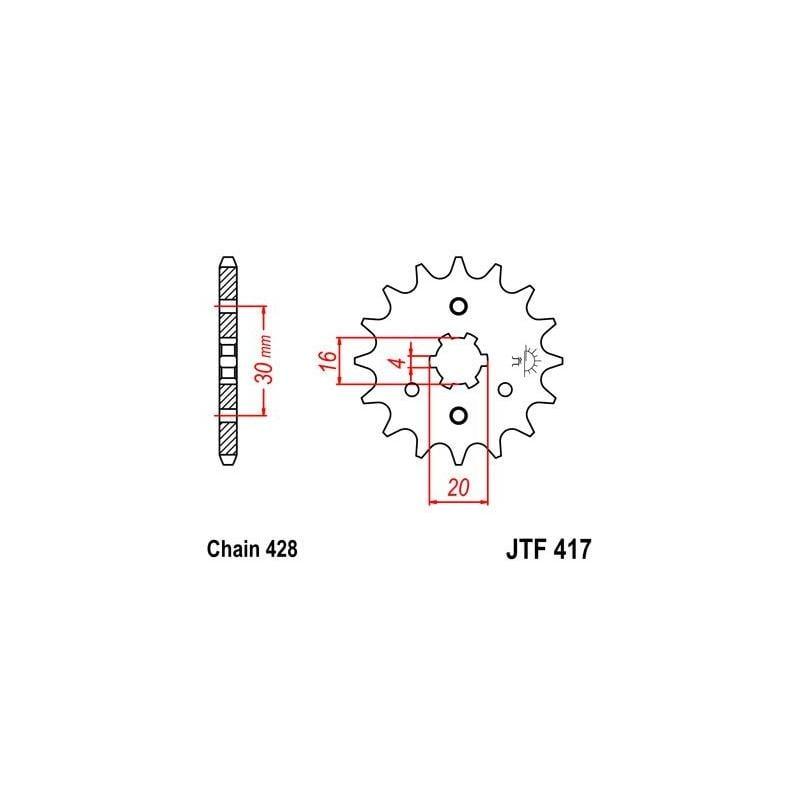 Pignon JT Sprockets Acier pas 428 16 dents - Pour Kawasaki KMX 200 88-92