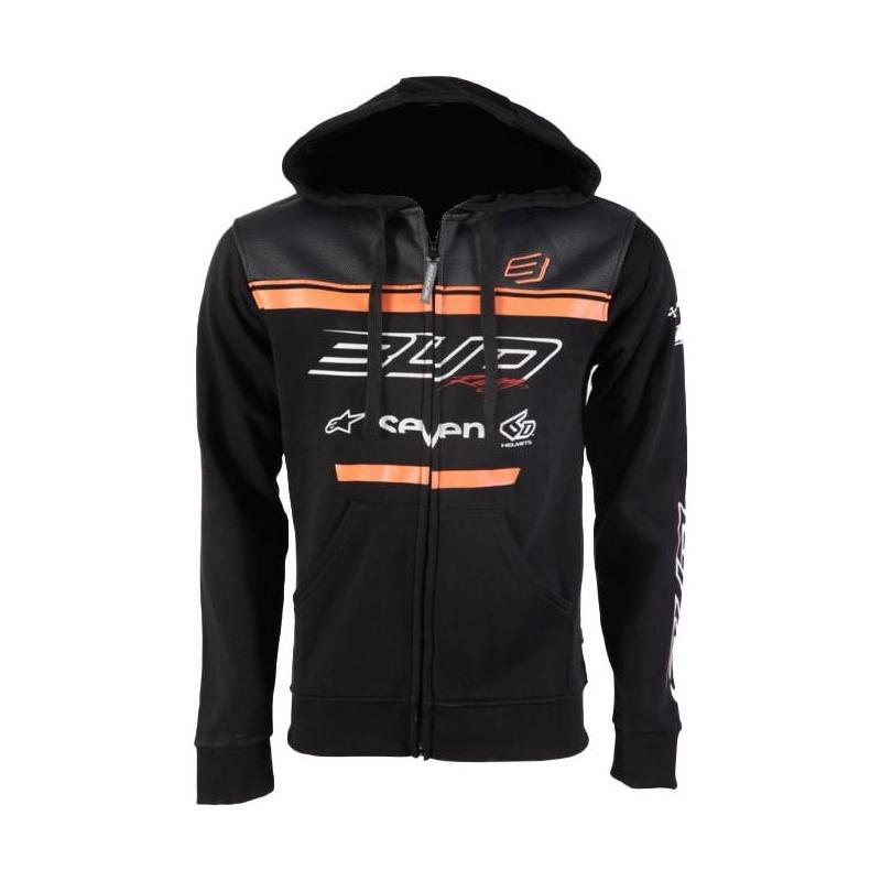 Sweat à capuche zippé Bud Racing Team 19 orange/noir