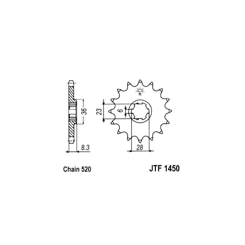 Pignon JT Sprockets Acier pas 520 14 dents - Pour Suzuki RM 500 83-84