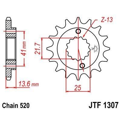 Pignon JT Sprockets Acier pas 520 14 dents - Pour Honda XR 650 R 00-07