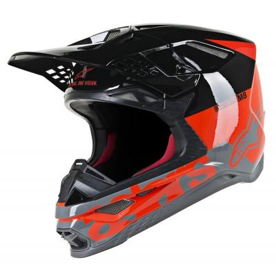 Casque cross Alpinestars Supertech S-M8 Radium rouge fluo/noir/gris