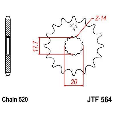 Pignon JT Sprockets Acier pas 520 12 dents - Pour Gas Gas EC 125 03-12