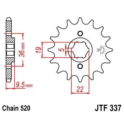 Pignon JT Sprockets Acier pas 520 14 dents - Pour Honda CR 250 R 79-85