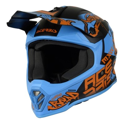 Casque cross Acerbis Impact Steel Junior bleu/orange mat