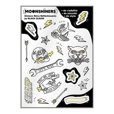 Planche de 19 stickers de casque réfléchissants Moonshiners