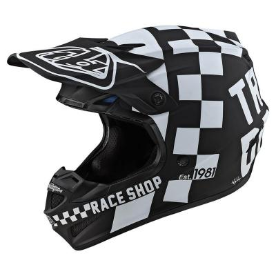 Casque cross Troy Lee Designs SE4 Polyacrylite Checker Mips noir/blanc