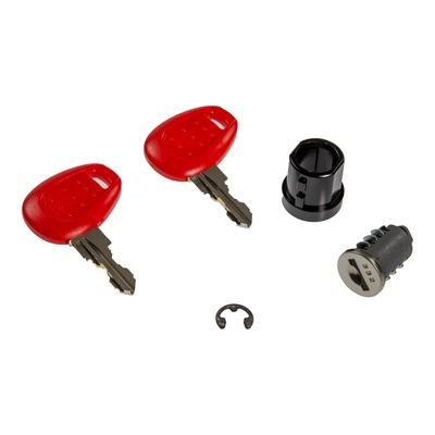 Barillet avec bague et clé pour serrure de valise et top case, avec plastique rouge Givi Z661