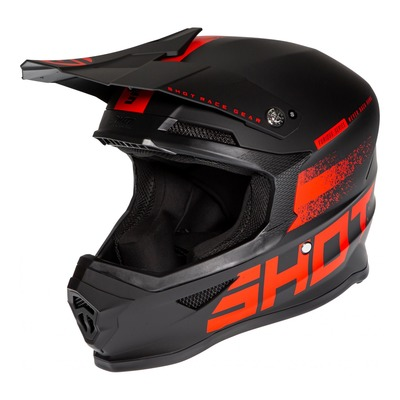 Casque cross Shot Furious Raw 2.0 mat noir/rouge