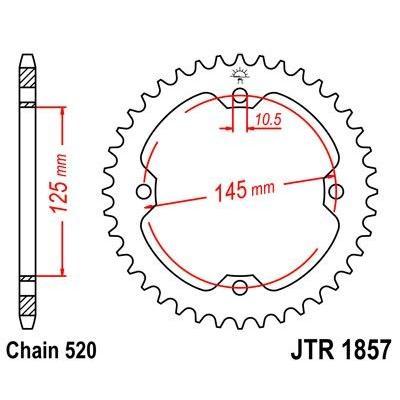 Couronne JT Sprockets Acier pas 520 47 dents - Pour Yamaha TT 600 E 96-97
