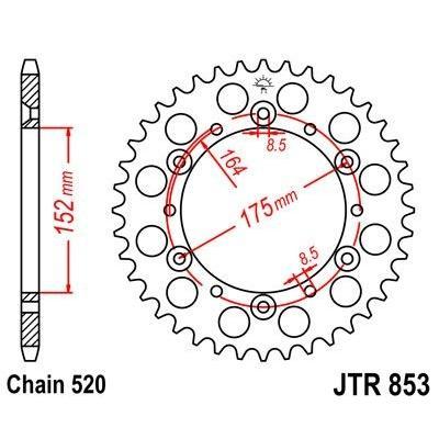 Couronne JT Sprockets Acier pas 520 49 dents - Pour Yamaha YZ400F 98-00