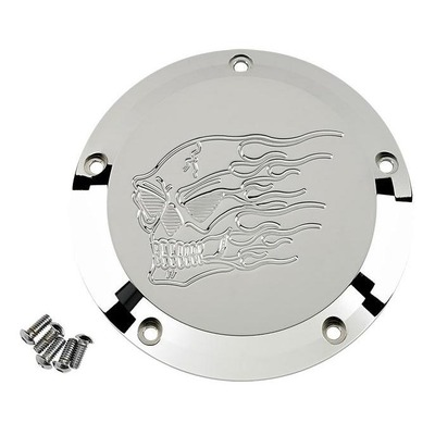Derby cover Joker Machine Harley Davidson Twin Cam 99-18 skull flammes chrome