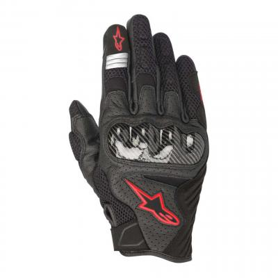 Gants textile/cuir Alpinestars SMX-1 Air V2 noir/rouge fluo