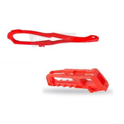 Kit guide chaîne et patin de bras oscillant Polisport Honda CRF 450R 11-12 rouge