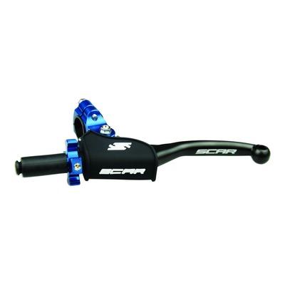 Levier d'embrayage Scar noir repliable + cocotte universelle Scar noir molette bleu