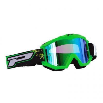 Masque cross Progrip 3204 vert fluo et écran miroir bleu
