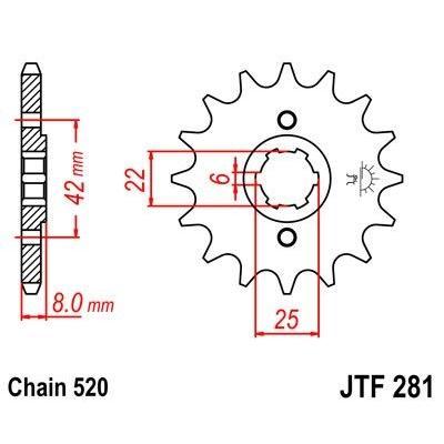 Pignon JT Sprockets Acier pas 520 15 dents - Pour Honda XL 600 R 83-87