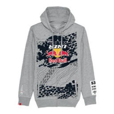 Sweat à capuche zippé Kini Red Bull Topography gris