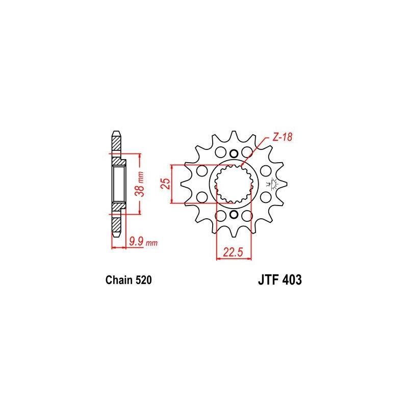 Pignon JT Sprockets Acier pas 520 15 dents - Pour BMW G450 X 08-10